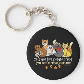 Les chats sont comme des pommes chips porte-clé rond