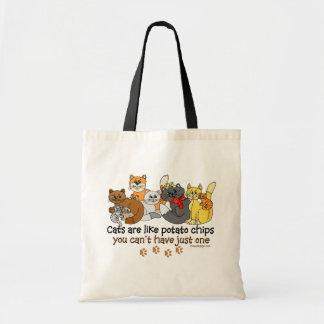 Les chats sont comme des pommes chips sac de toile