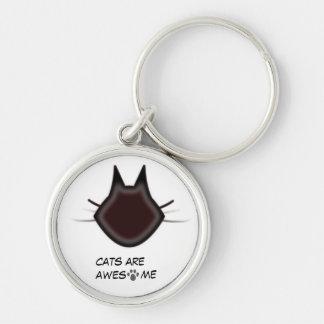 Les chats sont impressionnants porte-clé rond argenté