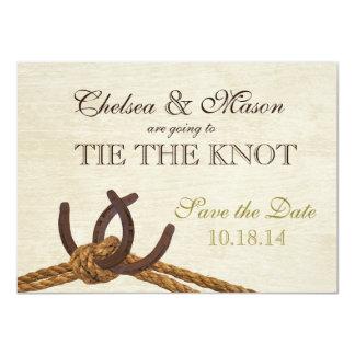 Les chaussures rustiques de corde et de cheval de carton d'invitation  11,43 cm x 15,87 cm
