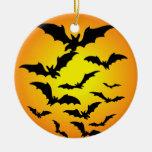 Les chauve-souris d'Halloween - Ornement Rond En Céramique