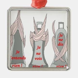 LES CLOCHES ENTENDRE DIRE VOIR RIEN 1.png Ornement Carré Argenté