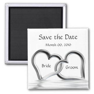 Les coeurs argentés sauvent le magnet de date magnet carré