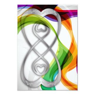 Les coeurs de RSVP doublent l'infini et les rubans Carton D'invitation 8,89 Cm X 12,70 Cm