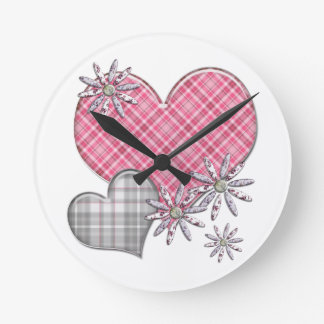 Les coeurs n fleurit l'horloge horloge ronde