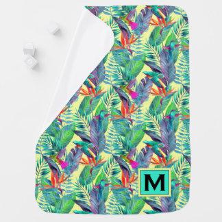 Les colibris d'aquarelle | ajoutent votre initiale couvertures de bébé