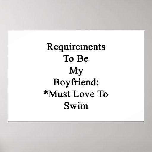 Les conditions d'être mon ami doivent aimer nager affiche