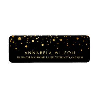 Les confettis de feuille d'or de Faux pointillent Étiquette D'adresse Retour