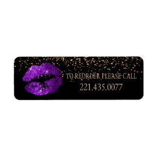 Les confettis d'or et les lèvres pourpres 2 - étiquette d'adresse retour