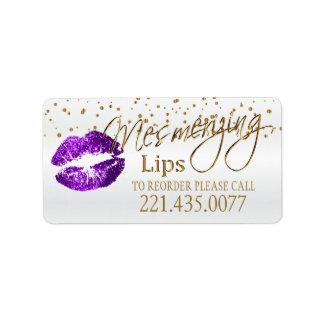 Les confettis d'or et les lèvres pourpres - étiquette d'adresse