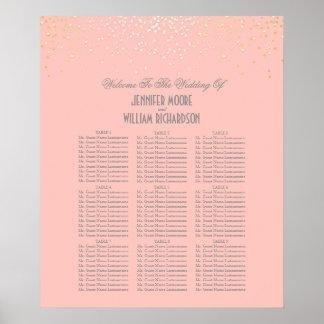 Les confettis d'or pointillent le diagramme rose poster