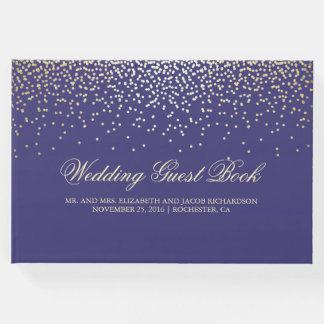 Les confettis élégants d'or pointillent le mariage livre d'or