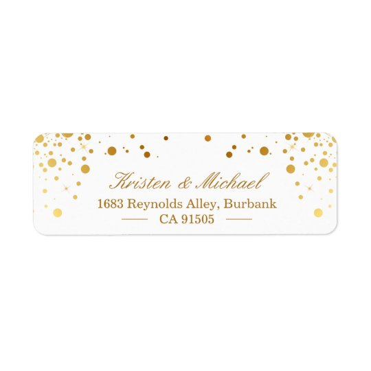 Les confettis modernes d'or pointillent élégant étiquette d'adresse retour