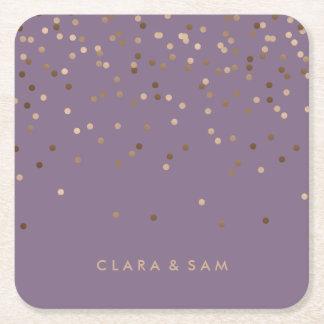 les confettis roses de feuille d'or de charme dessous-de-verre carré en papier