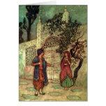 Les contes folkloriques des beaux-arts vintages de carte de vœux