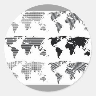 Les continents du monde de cartes dénomme des autocollants ronds