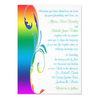 Les couleurs d'arc-en-ciel ont mis en rouleau le carton d'invitation  12,7 cm x 17,78 cm