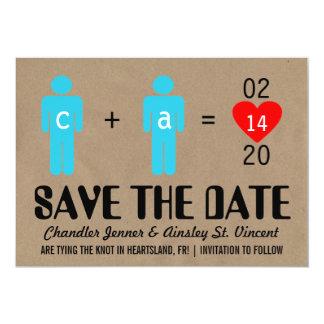 Les couples d'amour de monogramme sauvent les carton d'invitation  12,7 cm x 17,78 cm