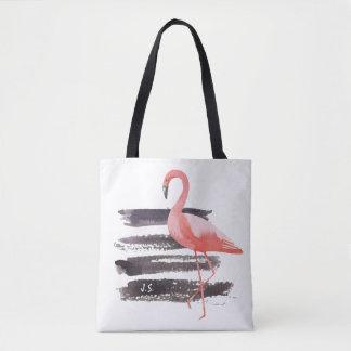 Les courses roses de brosse de flamant d'aquarelle sac