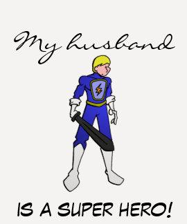 Les dames 3/4 de mon mari est un superhéros ! t-shirt