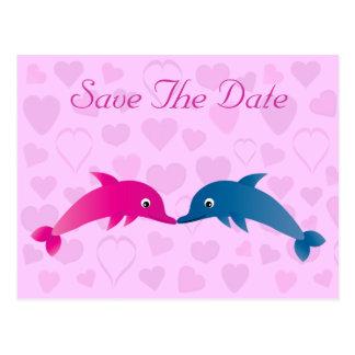 Les dauphins et les coeurs mignons font gagner la cartes postales