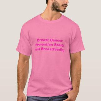 Les débuts de prévention de cancer du sein avec t-shirt