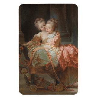 Les deux soeurs - Jean-Honoré Fragonard Magnets Rectangulaires