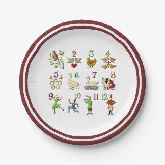 Les douze jours de Noël votre couleur de frontière Assiettes En Papier