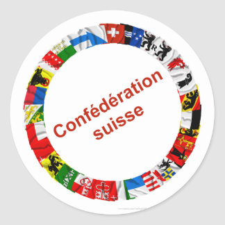 Les drapeaux des cantons de la Suisse, français Autocollant Rond