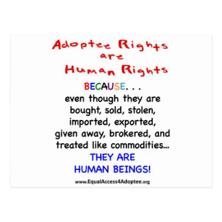 Les droits d'adopté sont des droits de l'homme cartes postales