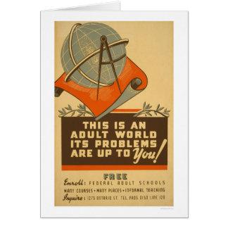 Les écoles fédérales libèrent WPA 1938 Carte De Vœux