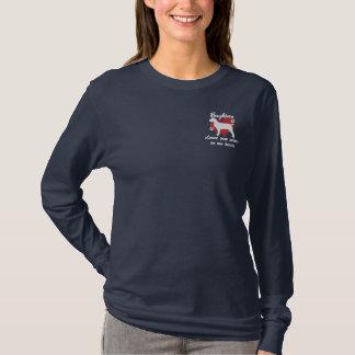 Les empreintes de pattes de congé de Boykins ont T-shirt À Manches Lomgues Brodée