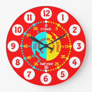 Les enfants apprennent à dire à temps l'horloge grande horloge ronde