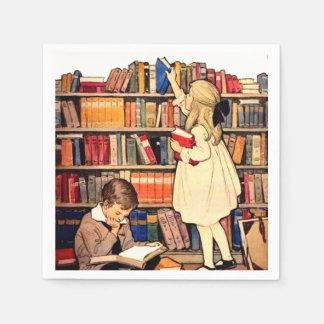 Les enfants vintages lisant la bibliothèque serviettes jetables