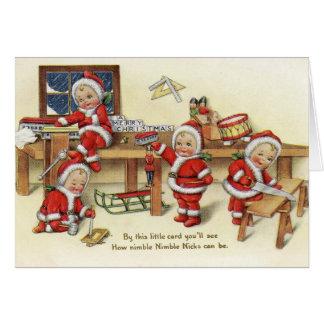 Les entailles agiles de rétro Noël vintage Cartes