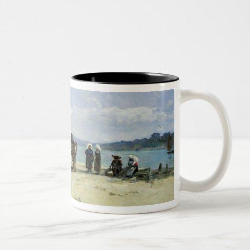 Les épouses des pêcheurs bretons, 1870-73 (huile s tasse à café