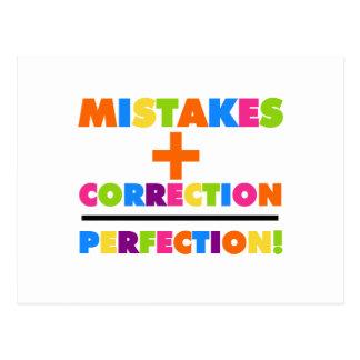 Les erreurs plus la correction égale la perfection carte postale
