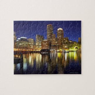 Les Etats-Unis, Boston, horizon de ville la nuit ( Puzzle