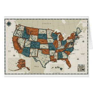 Les Etats-Unis - Carte vintage