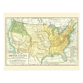 Les Etats-Unis - carte vintage 1791 - 1891