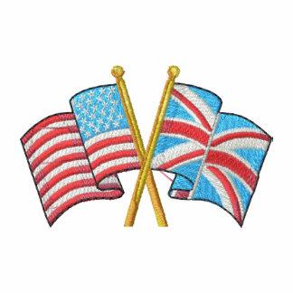 Les Etats-Unis croisés et drapeaux britanniques embroidered shirts
