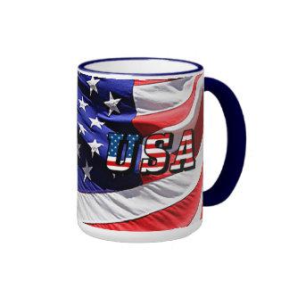 Les Etats-Unis - Drapeau américain Mug Ringer