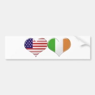 Les Etats-Unis et drapeaux irlandais de coeur Autocollant Pour Voiture