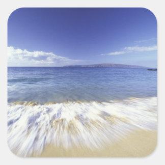 Les Etats-Unis, Hawaï, Maui, surf entrant à Makena Autocollants Carrés