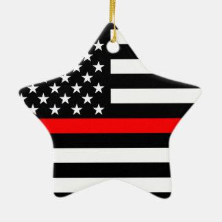 Les Etats-Unis marquent la ligne rouge mince noire Ornement Étoile En Céramique