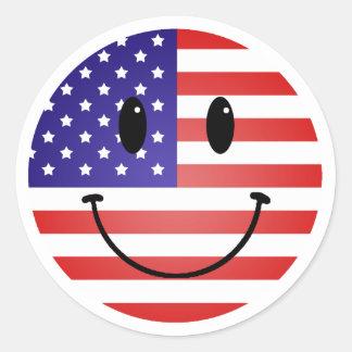 Les Etats-Unis marquent le smiley Sticker Rond