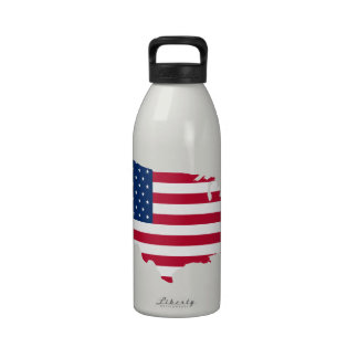 Les Etats-Unis tracent le drapeau - bouteille d'ea