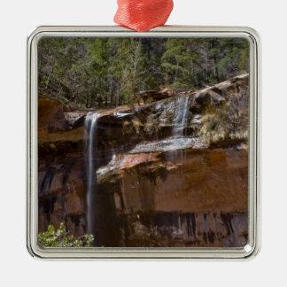 Les Etats-Unis, Utah, parc national de Zion, l'eau Ornement Carré Argenté