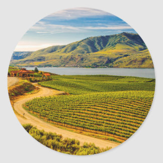 Les Etats-Unis, Washington, lac Chelan. Vignobles Sticker Rond