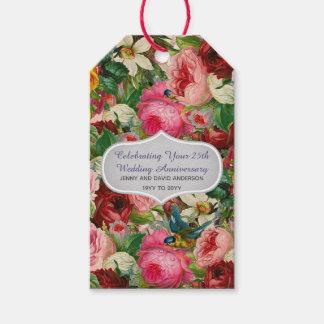 Les étiquettes vintages de cadeau de roses ont